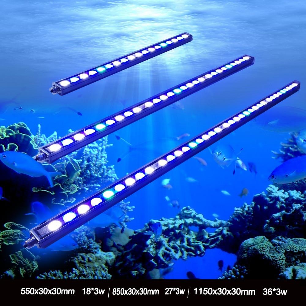 1pcs 54W/81W/108W Waterproof IP65 Waterproof LED Aquarium Bar Light For Reef Coral Growth Fish Tank Lamp Lighting