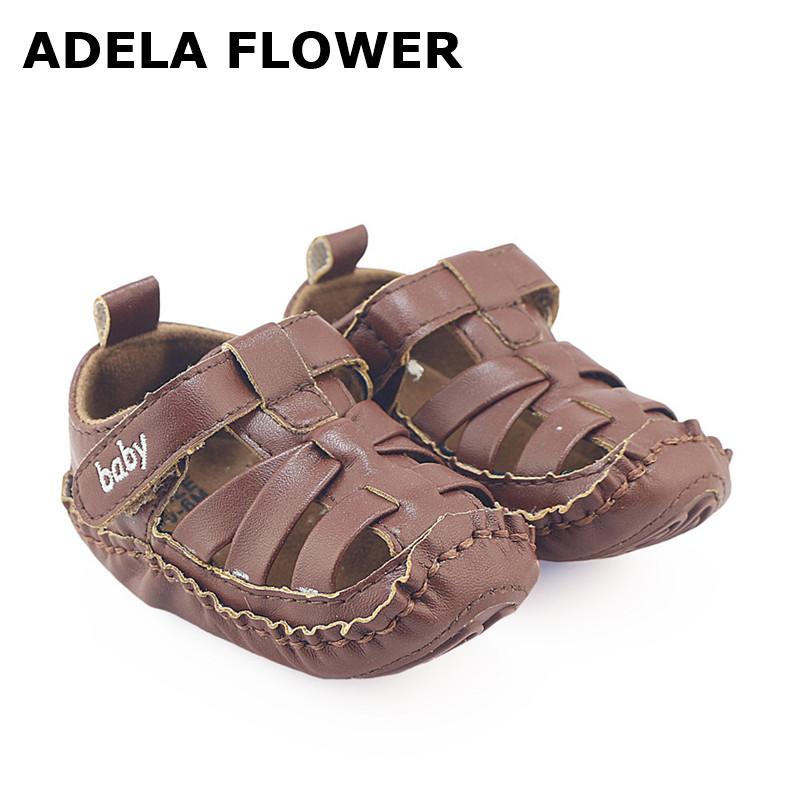 Adela Flower 2017 New Cool Baby Boy Beach Sandals Brand PU Leather Closed Toe Baby Boy Summer Shoes Sandals Shoes for Baby Boys