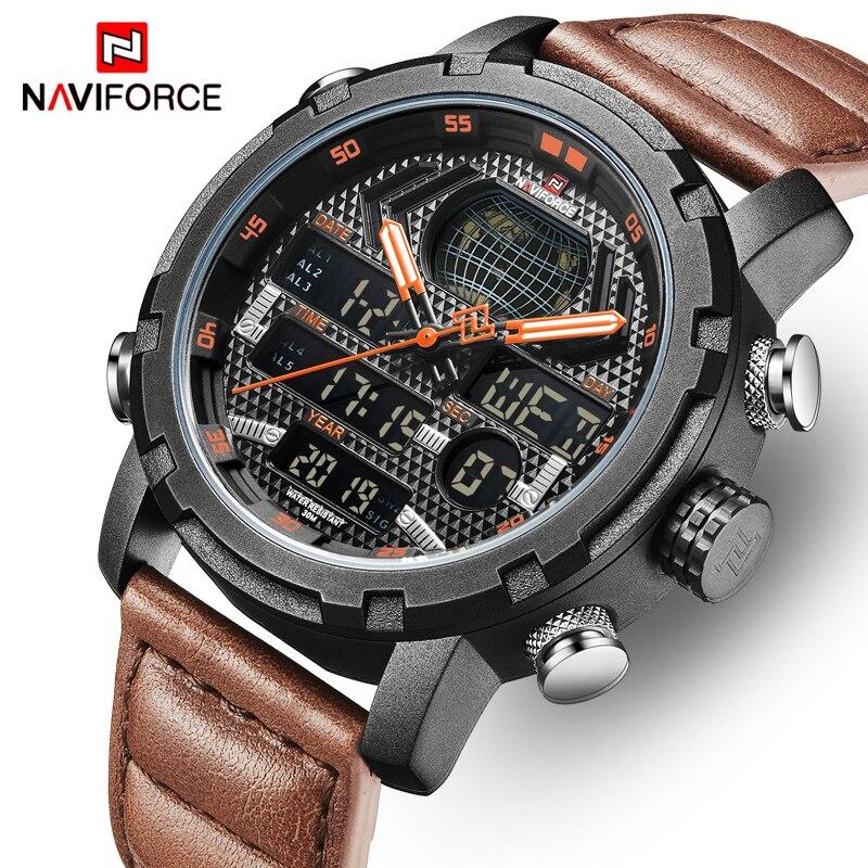 Uhren Herrenuhren Gehorsam Herren Uhren Naviforce Top Luxus Marke Männer Mode Digital Dual Display Sport Quarzuhr Lederband Wasserdichte Armbanduhr