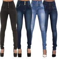 Moda de Las Señoras Jeggings Pantalones Flacos del Dril de algodón de Cintura Alta Stretch Jeans Pantalones Lápiz Delgado