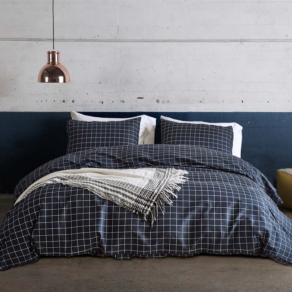 Navy Blue Striped duvet cover set US King Queen Twin size 3pcs set bedding with pillowcases