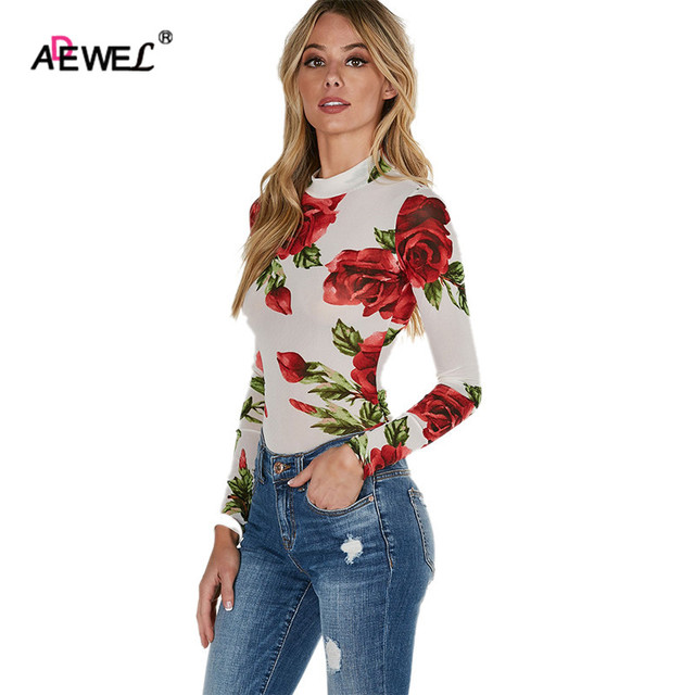 600d7f9fdda9 ADEWEL Fashion Rose Floral Printed Mesh Bodysuit Women Overalls High Neck  Vintage Bodysuits Sexy Bodycon Rompers Body Feminino