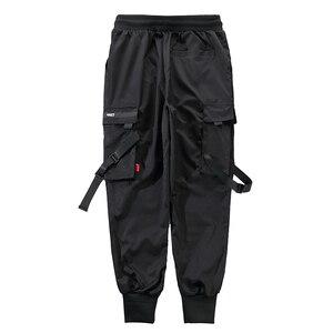 Image 5 - גברים סרטי צבע בלוק שחור כיס מכנסיים מטען 2019 מזדמן אופנה הרמון רצים Harajuku Sweatpant היפ הופ מכנסיים LA8P36