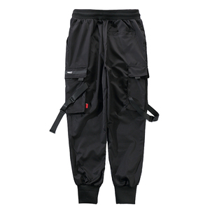 Image 5 - Men Ribbons Color Block Black Pocket Cargo Pants 2019 Casual Fashion Harem Joggers Harajuku Sweatpant Hip Hop Trousers LA8P36