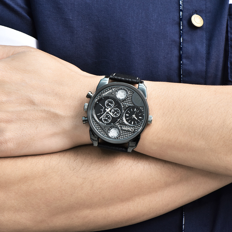 Oulm Watches Men Luxury Brand Genuine Leather Multiple Time Zone Wristwatch Male Quartz Watch Male Clock relogio masculino все цены