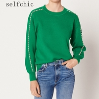 2018 Autumn Women Green Black Jumpers Designer Beading Wool Knitted Sweaters Tops
