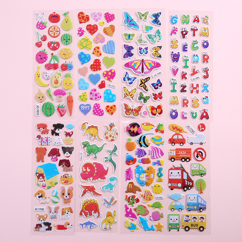 Waterproof 3D Cartoon Animal Wall Sticker Bubble Stickers DIY Baby Toys For Kids Boy Girl Room Decoration Wall Decals Stickers