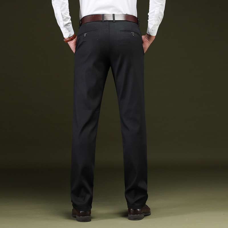 2019 Spring Autumn Straight Work Business Pants Male Formal Silk Office Classic Baggy Suit Long Trousers For Mens