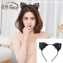 XY Fancy Sexy Lovely Women Fashion Lace Cat Ears Headband Hair Accessories Black Costume Party Cosplay Creative Gift zk15