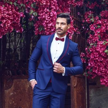 High Quality One Button Blue Groom Tuxedos Shawl Lapel Groomsmen Men Blazers Suits (Jacket+Pants+Tie) NO:460