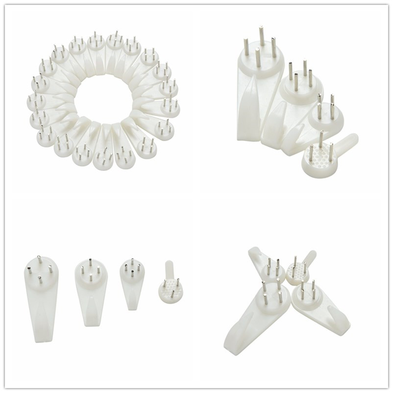 20pcs-white-color-wall-mount-photo-clock-picture-frame-hook-seamless-needle-nail-plastic-hard-frame-wall-hook-hanger-home-decor