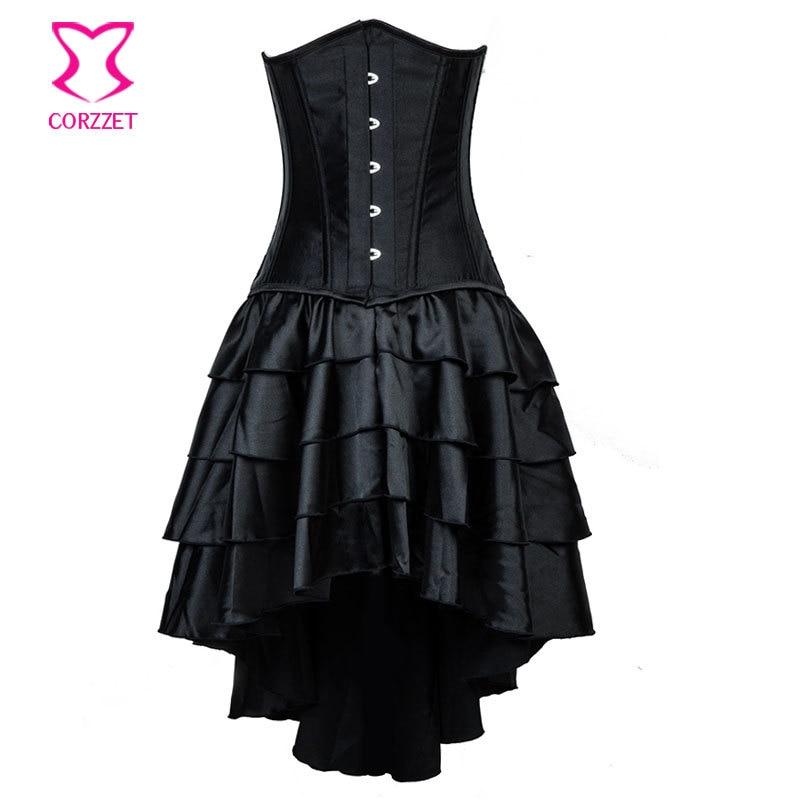 Burlesque Korsett For Women Flat Steel Boned Waist Trainer   Corset   Plus Size Underbust Black Waist Slimming   Corsets   and   Bustiers