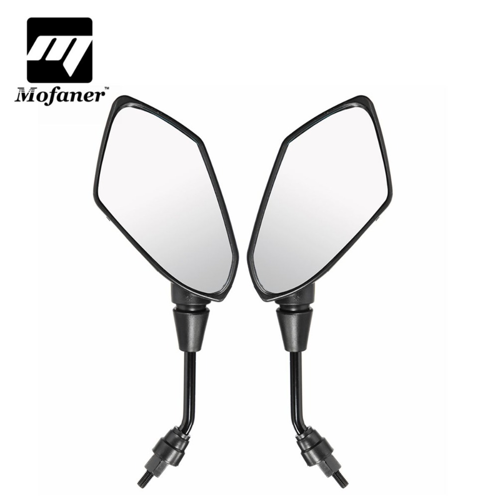 Black Motorcycle Rear View Mirrors Universal Handlebar Side Rearview Mirror 8mm 10mm Fit Scooter E-Bike qc m prince universal 0 8mm motorcycle rearview mirror silver black pair
