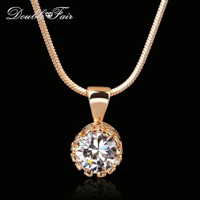 Double Fair Brand Unique Crown Cubic Zirconia Necklaces &Pendants Silver/Rose Go