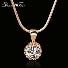 Double Fair Brand Unique Crown Cubic Zirconia Necklaces &Pendants Silver/Rose Gold Color Chain Fashion Jewelry For Women DFN390(China)