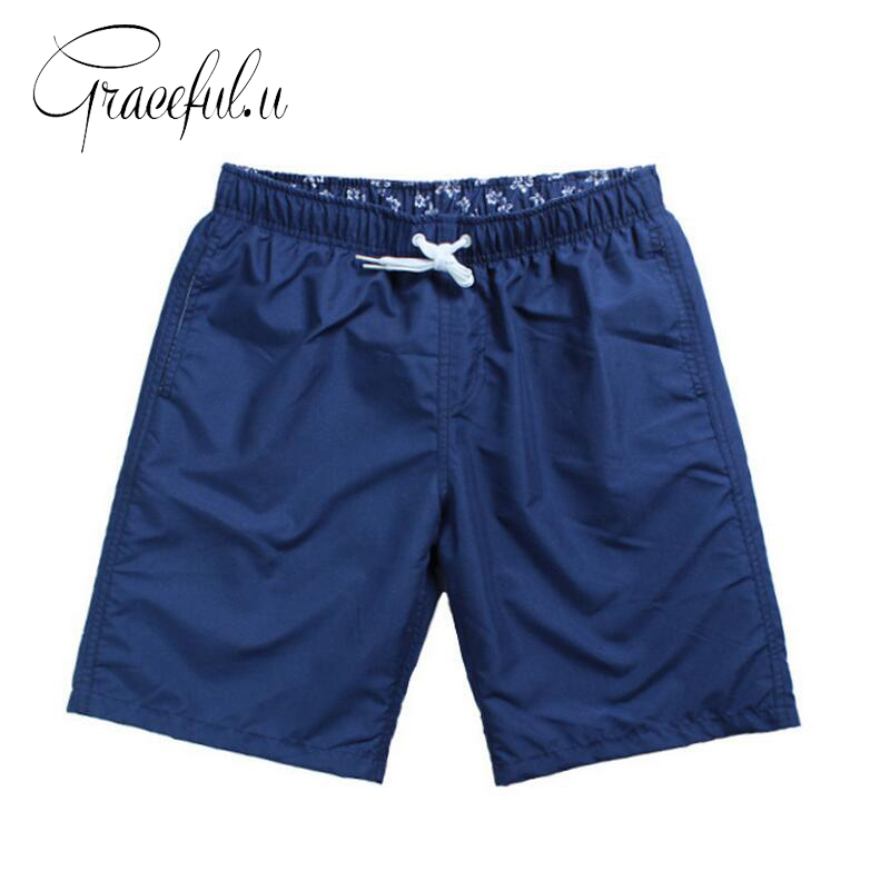 2017   Board     Shorts   Quick Drying Men Beach   Shorts   Solid Polyester Swimming Trunks for Bathing Men's Sportswear Boardshorts