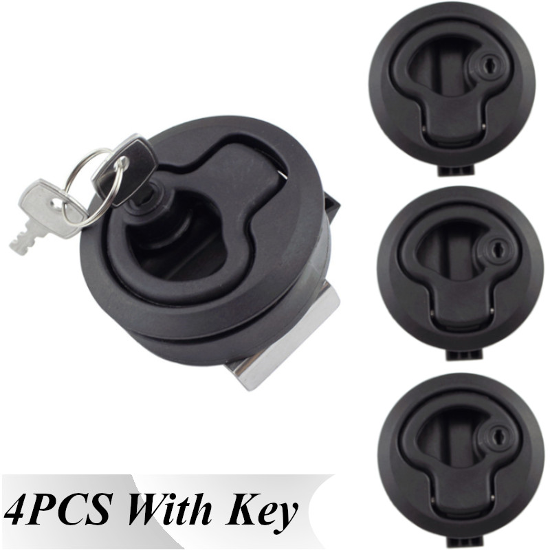 4 Pcs Black Locking Lift Handle Deck Hatch Flush Pull Latch With Key Can Locking Marine Hardware Yacht Accessories Free Shipping