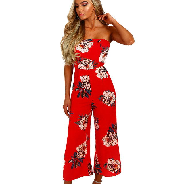 6cac26bc2d09 Off Shoulder Sexy Floral Print Jumpsuits Backless Club Rompers Womens  Jumpsuit Strapless Full Bodysuit Summer Overalls