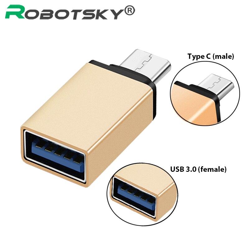 Robotsky Type C USB 3.0 OTG Adapter USB-C Type-C Converter For Samsung S8 For MacBook Series LG USB C OTG Adapter