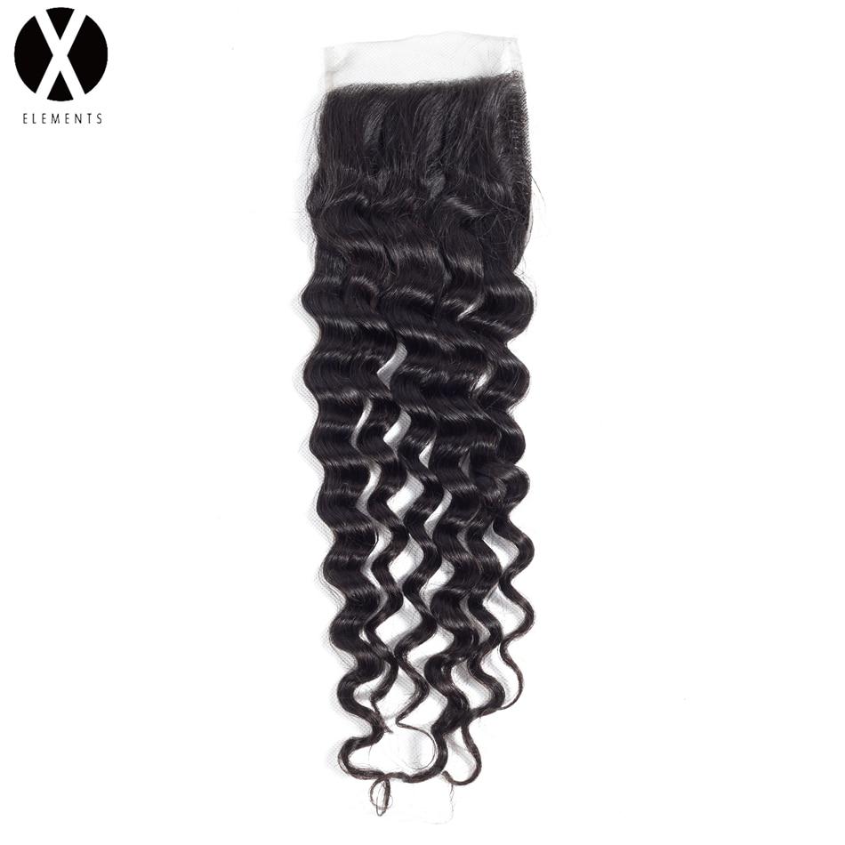 X-Elements 100% Mänskligt Hår 4 * 4 Snörning Snörning Brasilian - Mänskligt hår (svart) - Foto 5