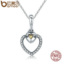 BAMOER Mother Gift 100 925 Sterling Silver To Mother S Love Gold Heart Pendant Necklace For