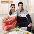 Pijamas de algodón para hombres par couple otoño nueva y ocio Stand up collar hombres de servicio local de servicio a domicilio