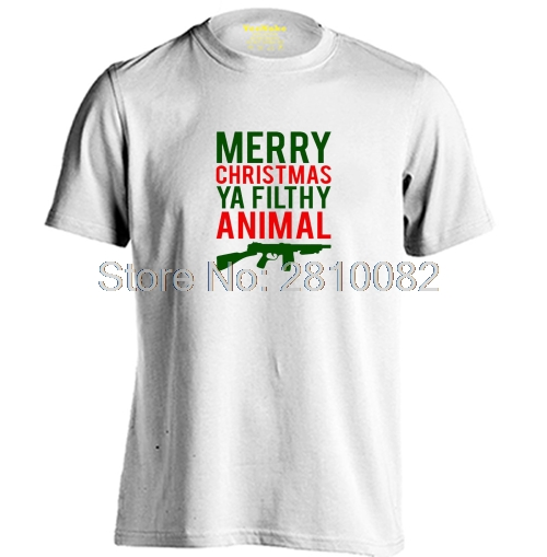 Merry Christmas Letter T.Merry Christmas Ya Filthy Animal Guns Mens Womens Printing