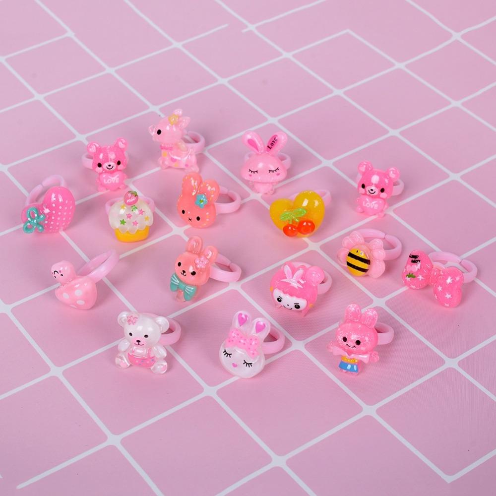 Lot Wholesale Mixed Colors Animal Plastic Finger Rings For  Kids Cute Adjustable Wedding