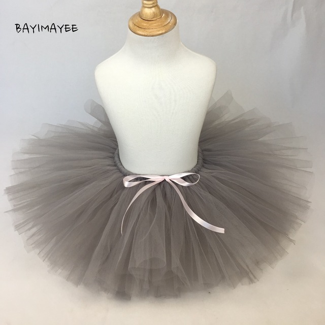 22fbded5b90e Cute Baby Girls Grey Tutu Skirt Kids Fluffy Tulle Tutus Ballet ...