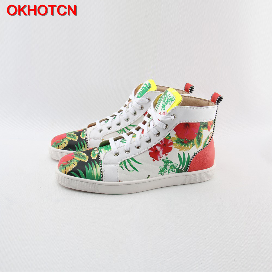 цена на OKHOTCN White Lace Up Men Casual Shoes Flower Leaf Print High Top Shoes Fashion Spring Autumn Round Toe Street Men Sneakers