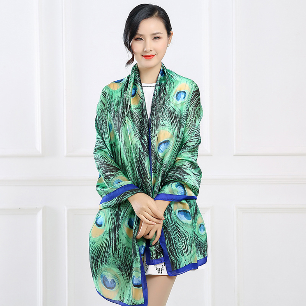 Square Satin Headscarf Emerald Watercolor Peacock Feathers Silk Like Lightweight Hair Wrapping Neck Square Scarfs Large