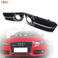 Replacement RS4 Sline Honeycomb Gloss Black+Chrome Front Bumper Fog Light Cover Grille for Audi A4 B8 Avant 2009 2010 2011 2012