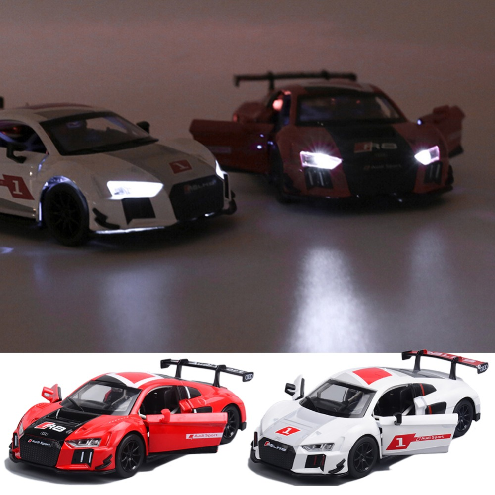 1:32 Audi R8 Sports Car Alloy Model Sound and Light Pull-back Toy Car стоимость