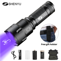 SHENYU UV Flashlight 395nm Ultraviolet Scorpion T6 Torch Ultra Violet LED Fluorescent Lamp 26650 Zoomable Waterproof Hiking