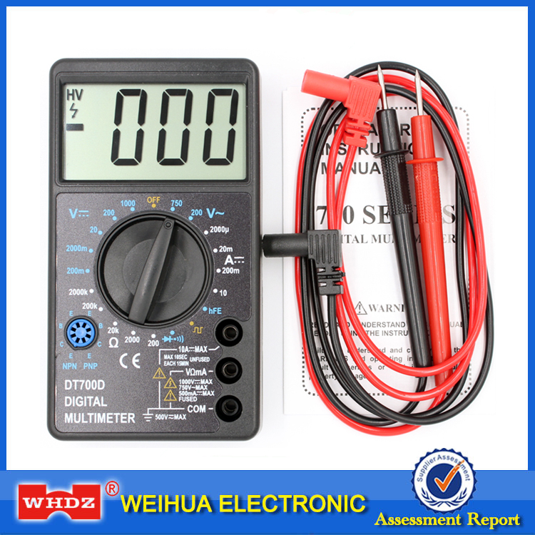 WHDZ DT-700D Mini Large Screen Digital Multimeter Buzzer Overload Protection Square Wave Output Voltage Ampere Ohm Tester Probe
