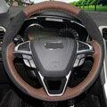 XuJi Palm Красный Кожаный Черный Замши Ручной работы Крышка Рулевого Колеса Автомобиля для Ford Mondeo Fusion 2013 2014 Края 2015