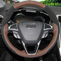 XuJi Palm Red Leather Black Suede Hand-stitched Car Steering Wheel Cover for Ford Fusion Mondeo 2013 2014 Edge 2015