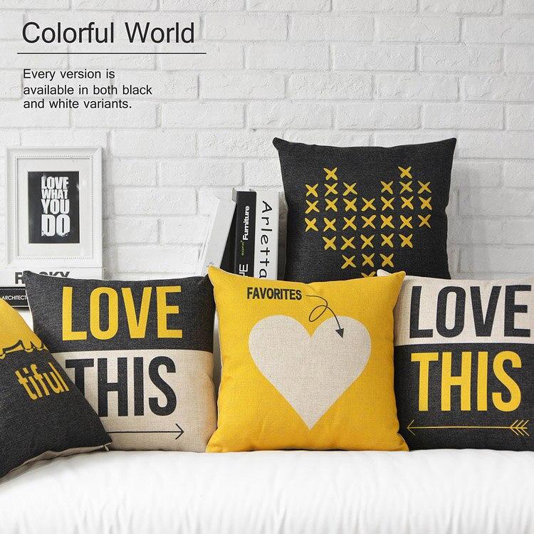 Housse de coussin jaune de style scandinave | Housse de coussin géométrique, coussins en lin, couverture doreillers décoratifs, pour la décoration de la maison
