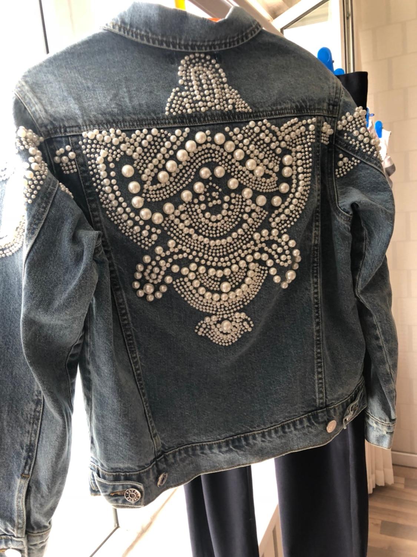 Perle Bomber Floral Manteau 2018 Lâche Perles Denim Harajuku Streetwear Veste Jeans Blue Femmes Broderie Vintage Automne OwHzqaa