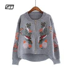 Fitaylor Демисезонный кардиган пальто embrodiery Цветочный Повседневная куртка Курточка бомбер пальто пилоты верхняя одежда