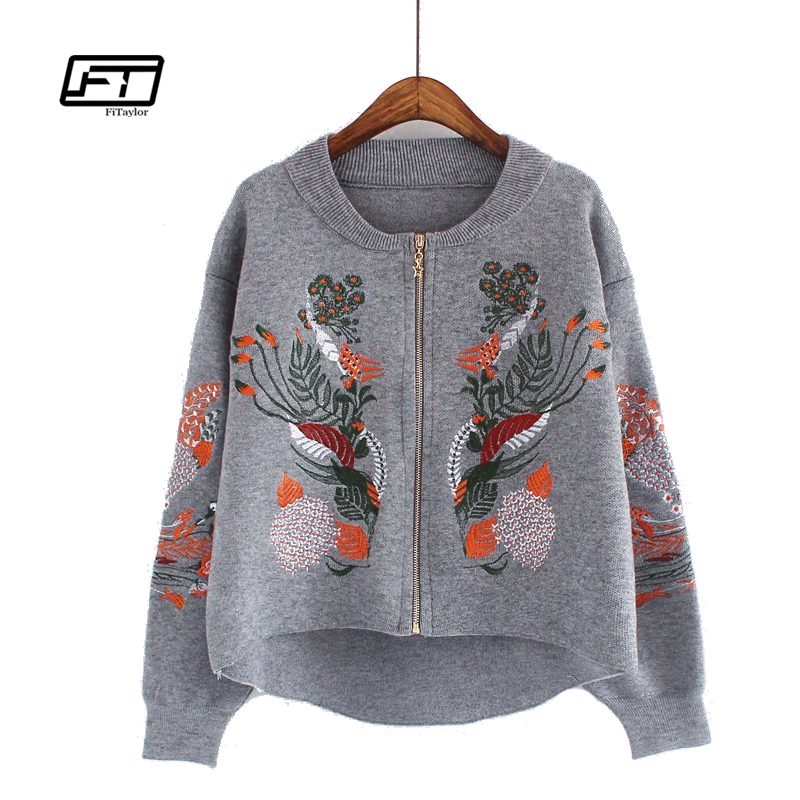 Fitaylor Spring Autumn Cardigan Coat Embrodiery Floral Casua