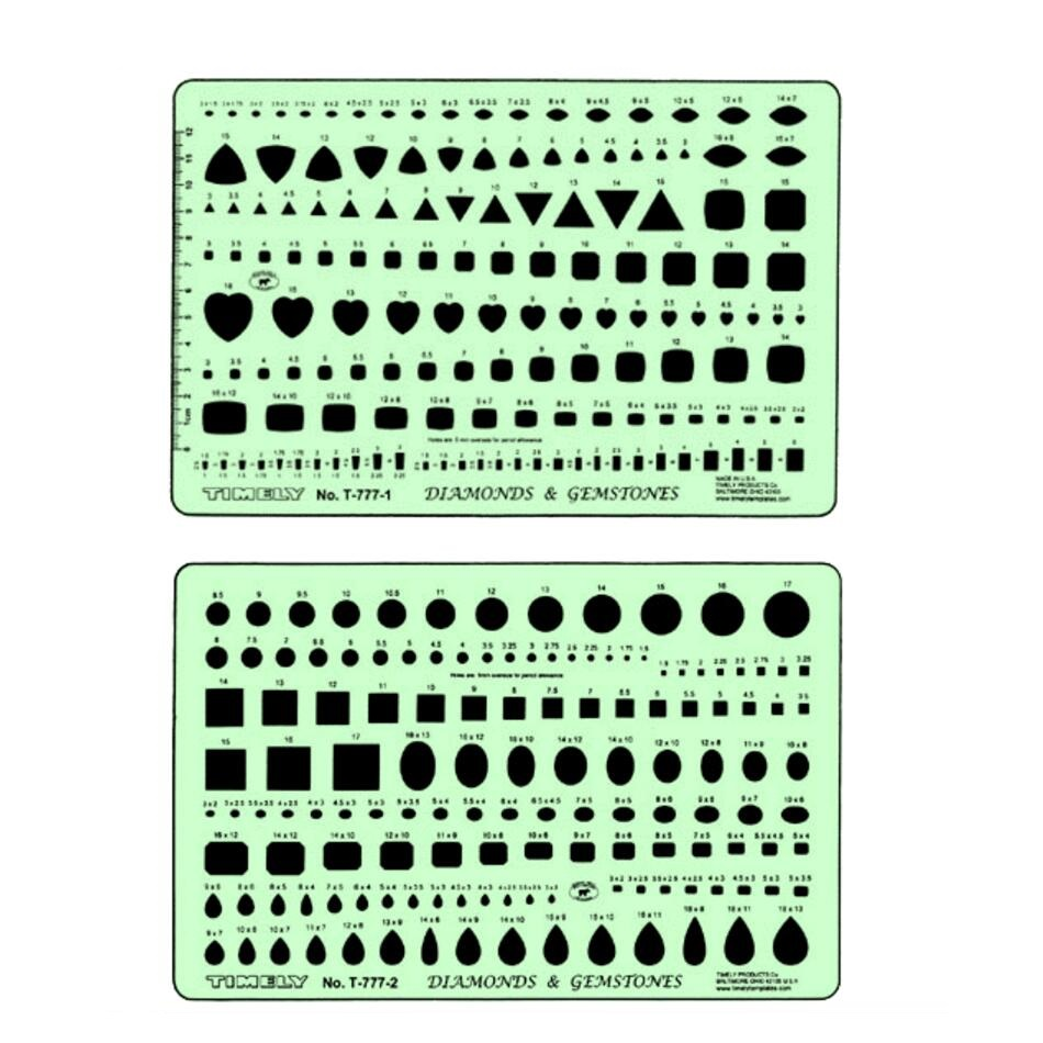 Diamonds Drafting Template Gemstones Drawing Template For Jewelry Designers T-777-1 And T-777-2