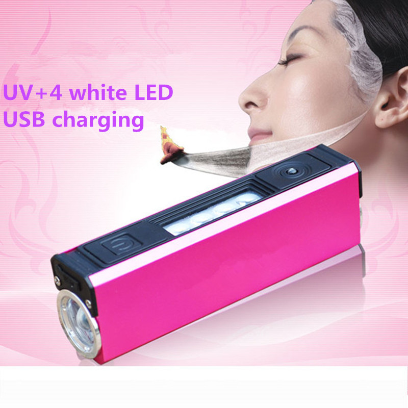 USB Rechargeable UV led flashlight with 4 white SMD lamps for 18650,365NM Fluorescent Urine Blacklight Detector Torch+USB Line