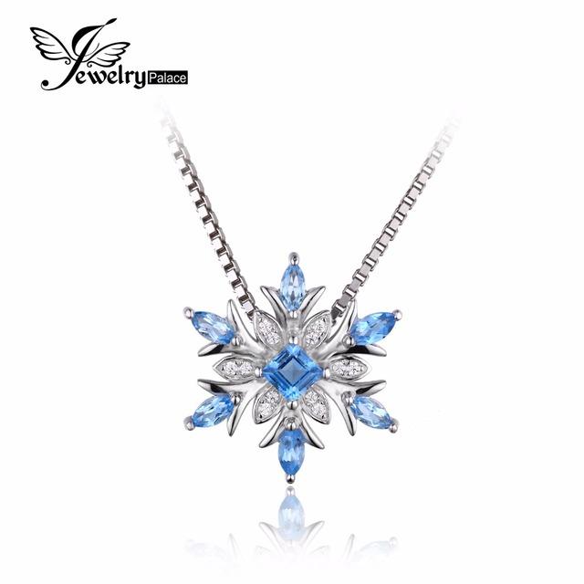 Jewelrypalace topázio azul genuine sólido 925 pingente de prata do floco de neve colar 45 cm cadeia de caixa de jóias finas para mulheres