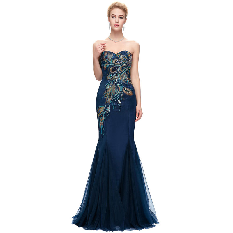 Vintage Peacock Navy   Evening     Dress   Lace Embroidery Mermaid Floor-length Luxury Formal Prom Gown Sweetheart vestido cocktail
