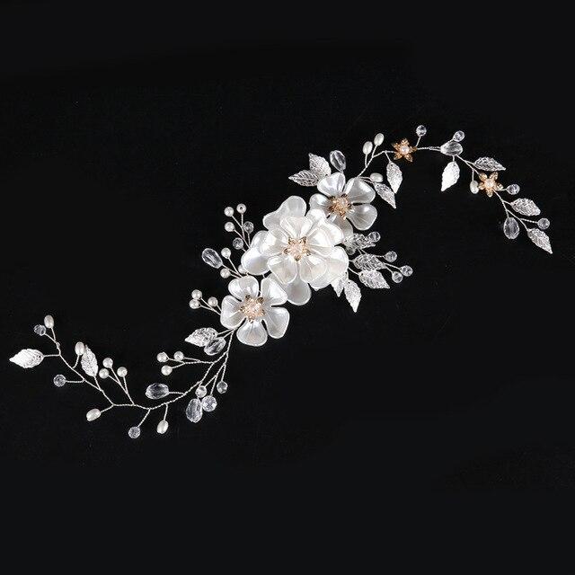 SLBRIDAL Handmade Wired Crystal Rhinestone Pearls Flower Wedding Hair accessories Hair Vine Hairband Bridal Headband Bridesmaids