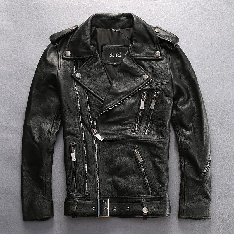 Men's slim fit motorcycle jacket with belt zippers fashion leather biker jacket men 2017 newa arrival leather coat for male XXXL