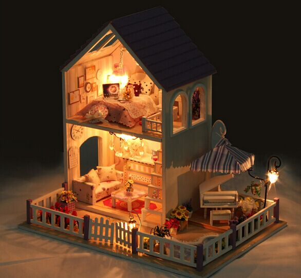 ФОТО Valantine's Day GIFT 2 floors  DIY Miniature Model Kit with dustproof Wooden Doll House, Big Size House Toy With Furnitures