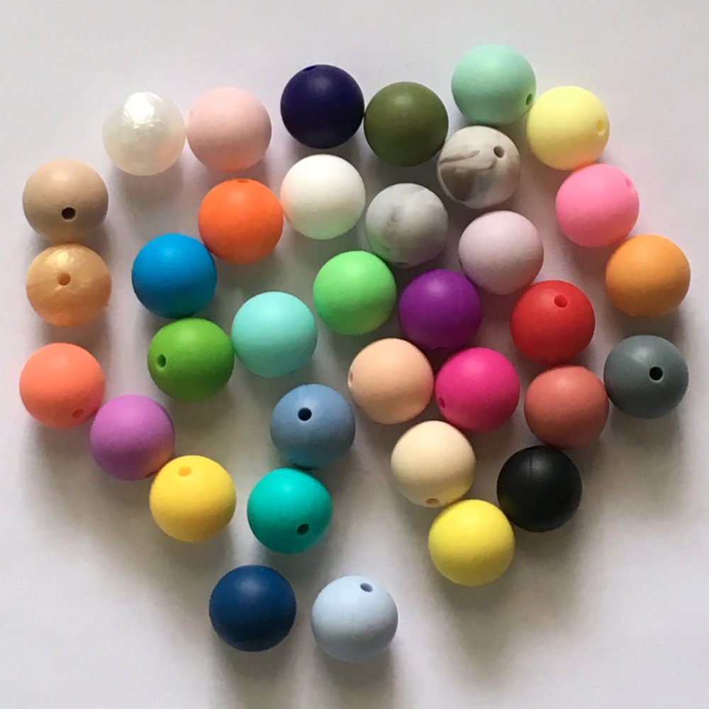 10pcs/lot 15mm Round Loose Silicone Beads Safe Teether Baby Chew Non Toxic BPA Free 100% Food Grade Teething Beads for necklace