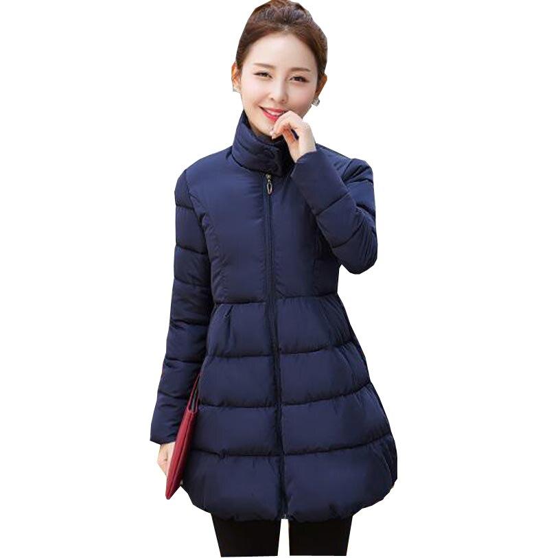 ФОТО 2016 winter women parka thicken warm jacket coat slim a-line wadded outerwear stand collar female medium long down jacket kp0872